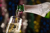 New Year card with champagne — Stock Photo