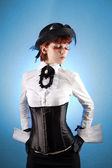 Beautiful girl in Victorian style clothe — Stock Photo