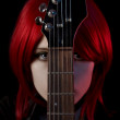 Portrait of gothic girl with guitar — Stock Photo