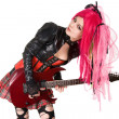 Gothic girl playing guitar — Stock Photo