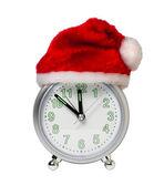 时钟在圣诞老人的帽子 — 图库照片