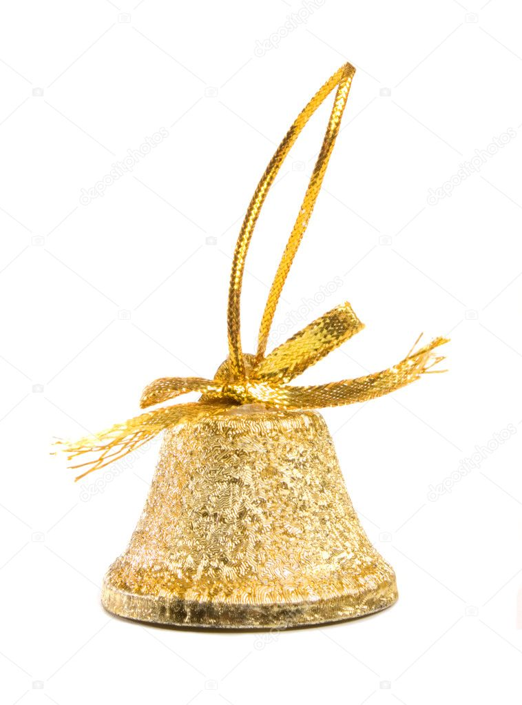 Gold bell Christmas isolated on white background — Stock Photo #1007291