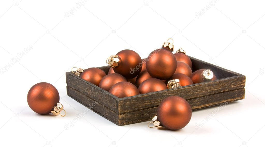Christmas tree toys in the box isolated on white background — Stock Photo #1008892