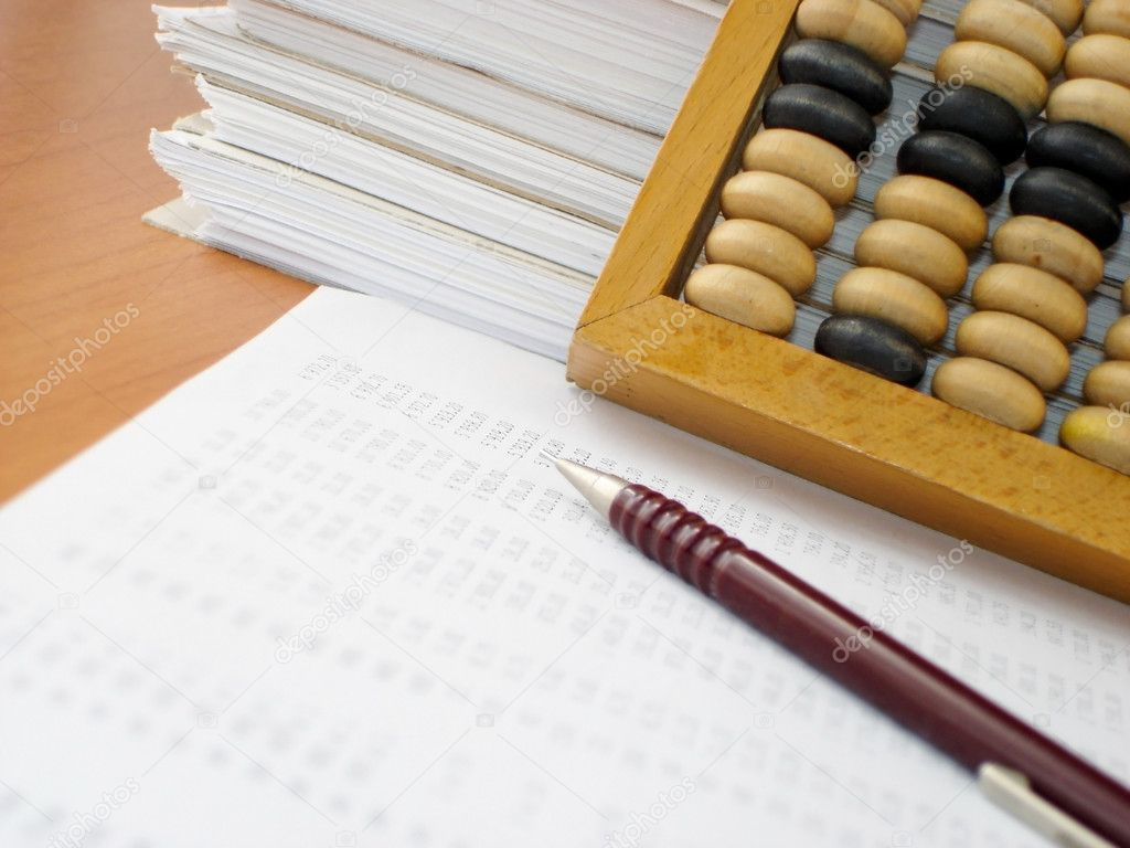 Folder with the documents end abacus — Stock Photo #1009154
