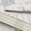 Stock Photo: Technical drawing and pencil