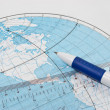 Stock Photo: Contour map and ruler