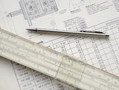 Technical drawing and pencil — Stock Photo