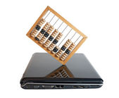 Computer and Abacus — Stockfoto