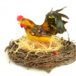 Rooster in the nest — Stock Photo