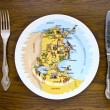 Royalty-Free Stock Photo: Plate with a map
