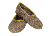 Domestic knitted slippers — Stock Photo