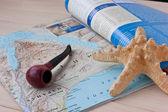 Zeester en de pijp op de geographika — Stockfoto