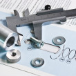 Mechanical scheme and calipers — Stock Photo