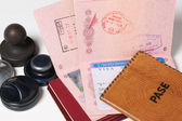 Passports and stamps — Stock Photo