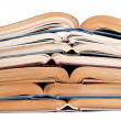 Stack of open books — Stock Photo