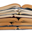 Stack of open books — Stockfoto