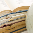 Stack of open books and Globe — Stock Photo