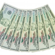 Fan of dollars isolated - Stock Photo