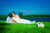 Newly married on a grass — Stock Photo