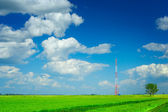 Tower of mobile communication on a field — 图库照片