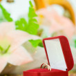Wedding ring in red box — Stock Photo
