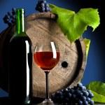 kompozisyon üzüm ve kırmızı şarap — Stok fotoğraf