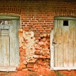 Stock Photo: Two old doors and brick wall