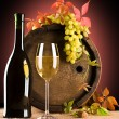 Composition of wine and grape - Stock Photo