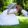 Foto Stock: Wedding couple kiss in the park