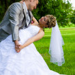 Young married pair posed — Foto Stock
