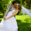 The groom holds the bride in park — Stock fotografie