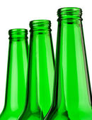 Top of green bottles isolated — Stock Photo
