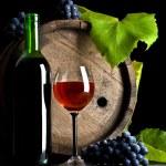 ボトルのガラスのブドウ — ストック写真