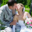 The wedding pair sits on a grass kiss — Stock Photo