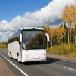 Стоковое фото: White tourist bus on highway