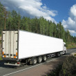 White truck on rural highway — Stock Photo #1007253