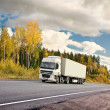 Autumn truck highway - Stock Photo