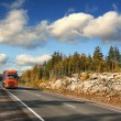 Red trucking on highway — Stock Photo