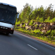 Стоковое фото: Highway Scandinavia, sunset, bus