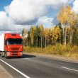 Stock Photo: Red truck on autumn highway