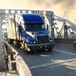 Heavy truck on industrial bridge — Stock Photo