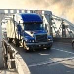 Heavy truck on industrial bridge — Stock Photo
