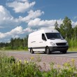 White van on rural highway — Stock Photo