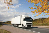 White truck on autumn highway — Stock Photo