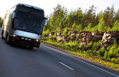 Highway Scandinavia, sunset, bus — Stock Photo