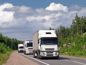 Caravan of white trucks — Stock Photo