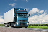 Truck on summer country highway — Stockfoto