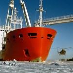 Ankunft der Antarktis-expedition — Stockfoto