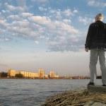 Sunset of old man — Stock Photo