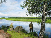 Two anglers — Stock Photo